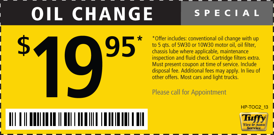 Oil Change $19.95 Call for Appointment