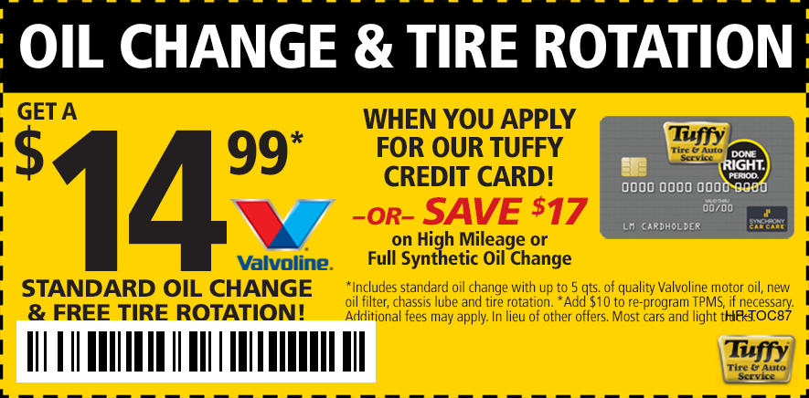 Standard Oil Change & Tire Rotate $14.99 When (You Apply For The Tuffy Credit Card)