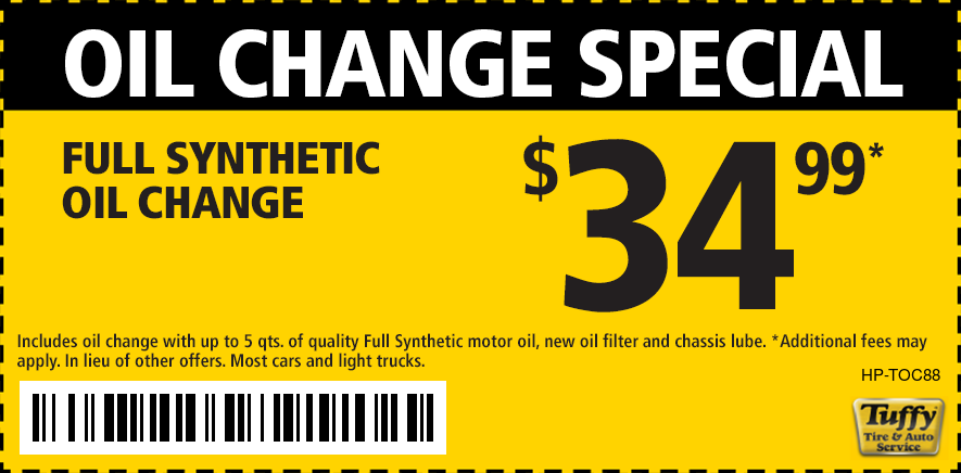 Oil Change Full Synthetic $34.99 (up to 5 qts)