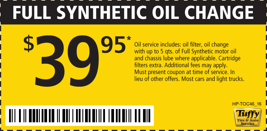 Full Synthetic Oil Change $39.95
