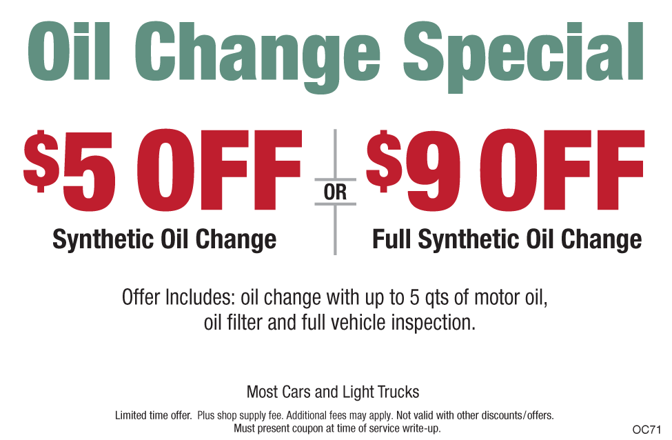 Oil Change $5 OFF Synthetic Blend/$9 OFF Full Synthetic