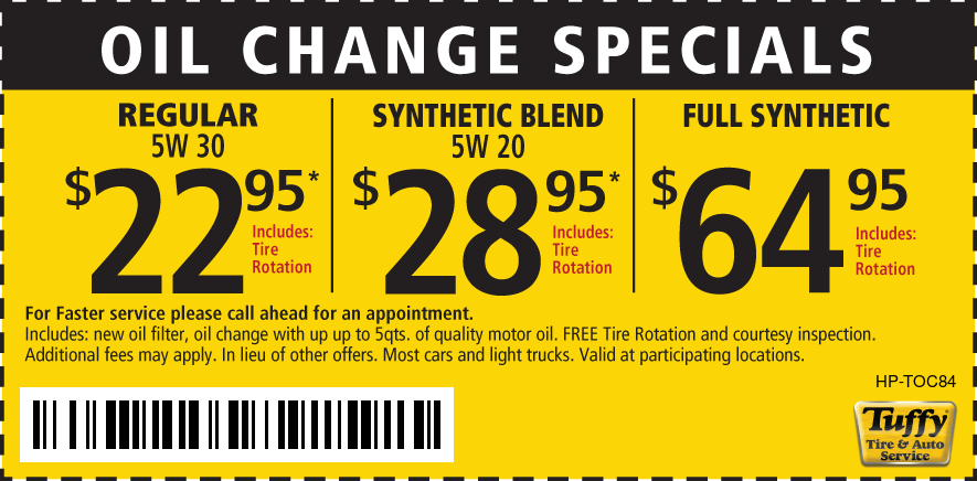 Oil Change w/tire rotate Reg $22.85/Synthetic Blend $28.95/Full Synthetic $64.95