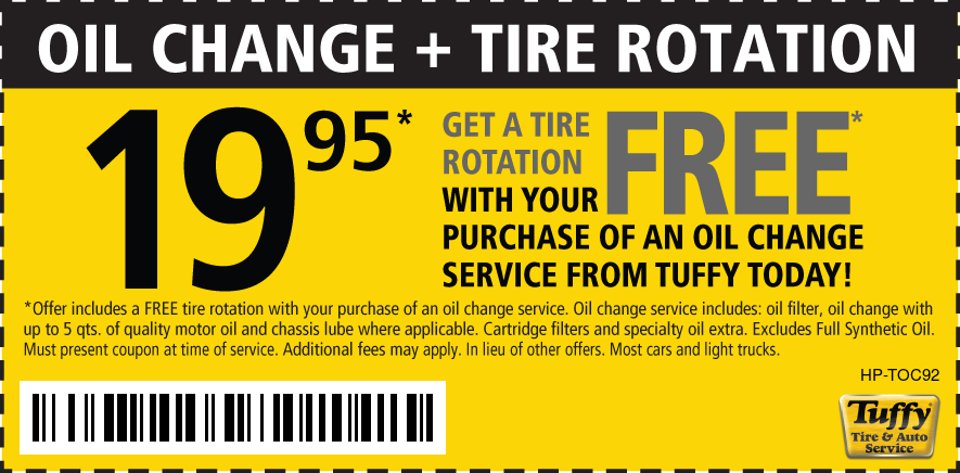 $19.95 Standard Oil Change & Tire Rotate