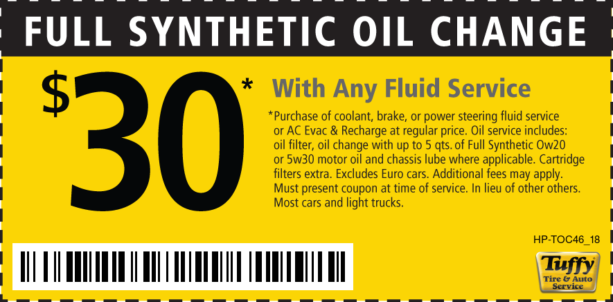 Full Synthetic Oil Change $30 W/Any Fluid Service at Regular price