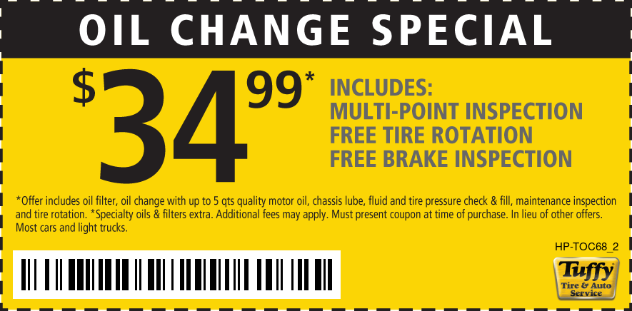 Oil Change Special $34.99 W/Rotation/Multi-Point Insp./Brake Insp.