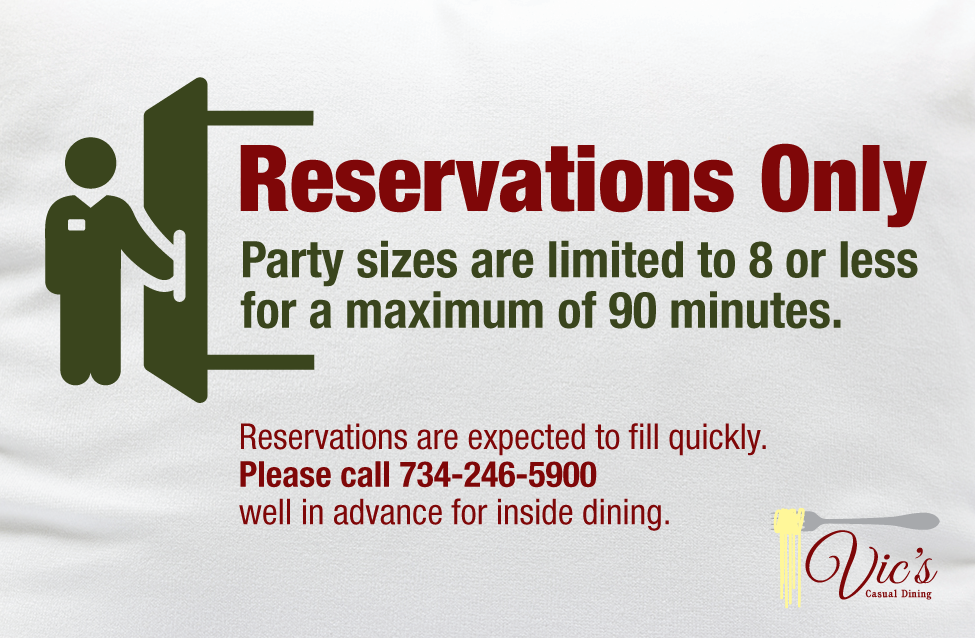 Reservations only  aug 2020