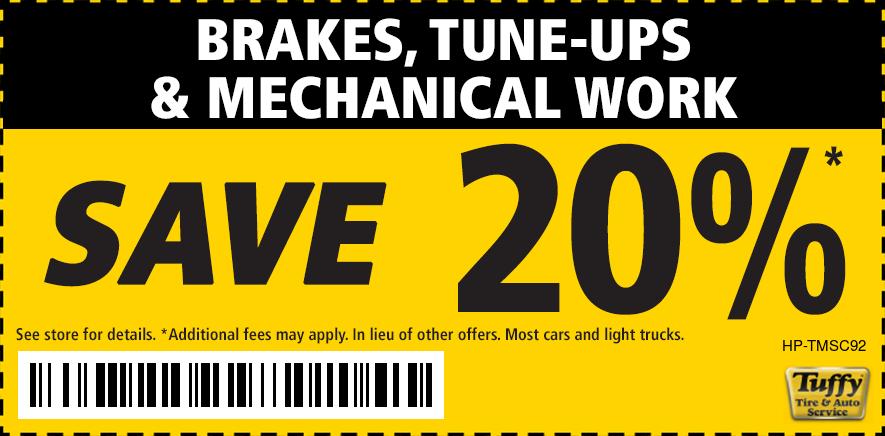 Brakes, Tune-Ups & Mechanical Work SAVE 20%