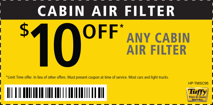 $10 OFF ANY Cabin Air Filter
