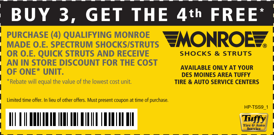 Buy 3 get 4th FREE Shocks and Struts (Des Moines Area Only)