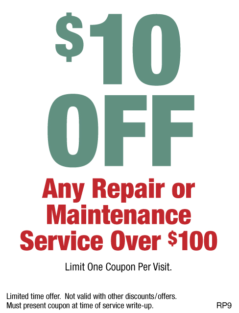 $10 OFF Any Repair Or Maintenance Service Over $100