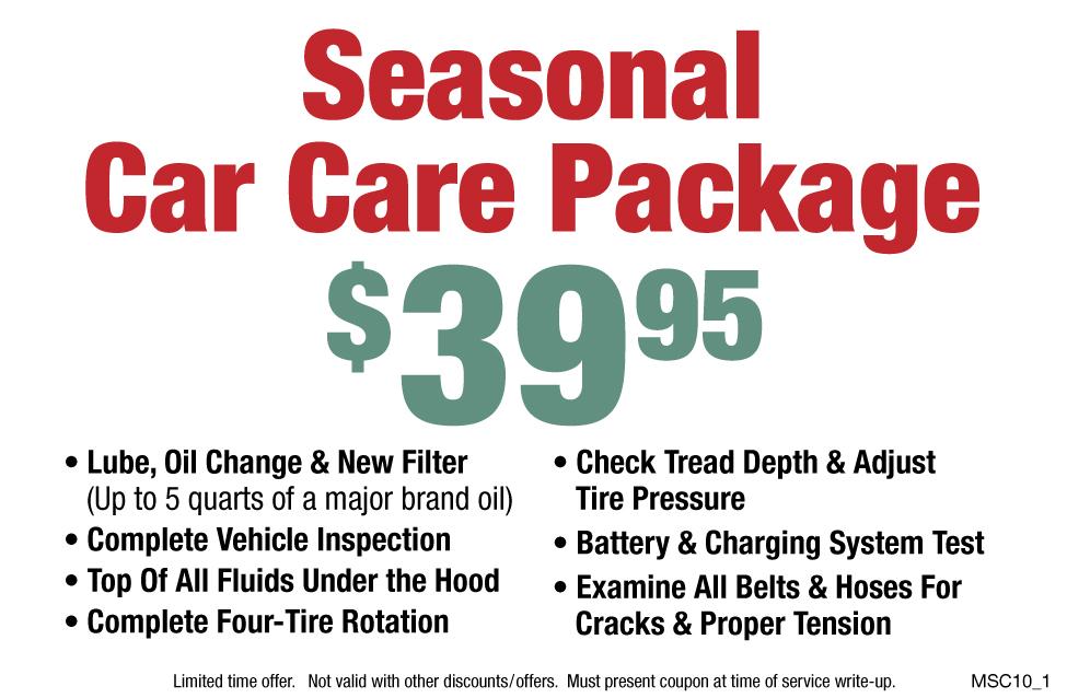 Seasonal Car Care Package $39.95