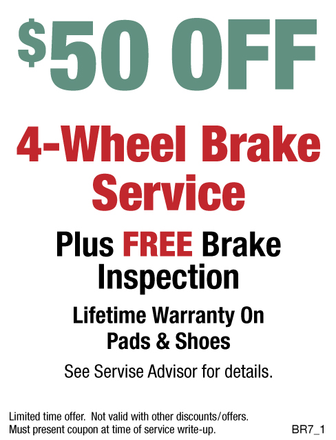 $50 OFF 4 - Wheel Brake Service Plus FREE Inspection