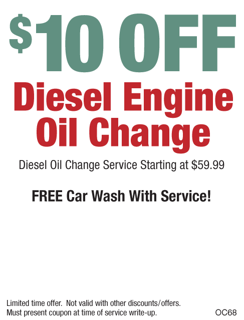 $10 Off Diesel Engine Oil Change W/Free Car Wash
