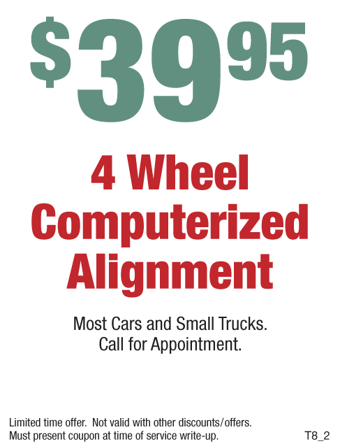 $39.95 - 4 Wheel Computerized Alignment