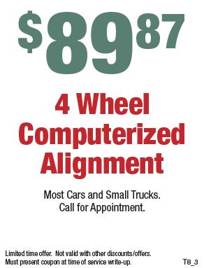 89.87 - Four Wheel Computerized Wheel Alignment