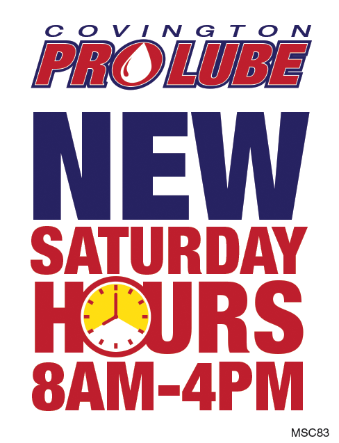 Covington Pro Lube Saturday Hours