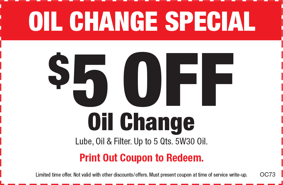 $5 Off Oil Change w Red Border