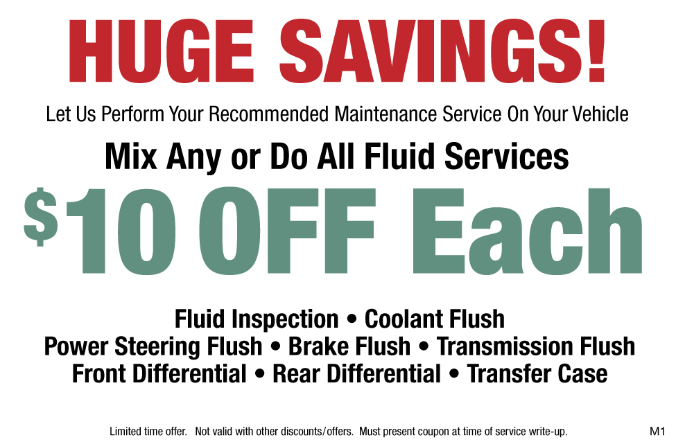 Preventative Maintenance Fluid Services $10 OFF