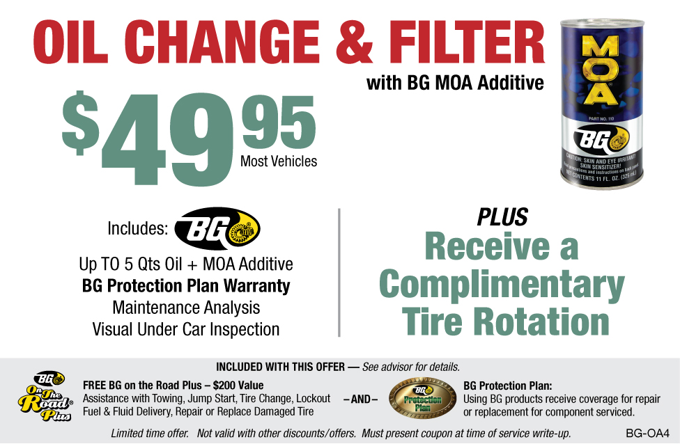 BG Oil Change & Filter $49.95 W/BG MOA + Comp Tire Rotate