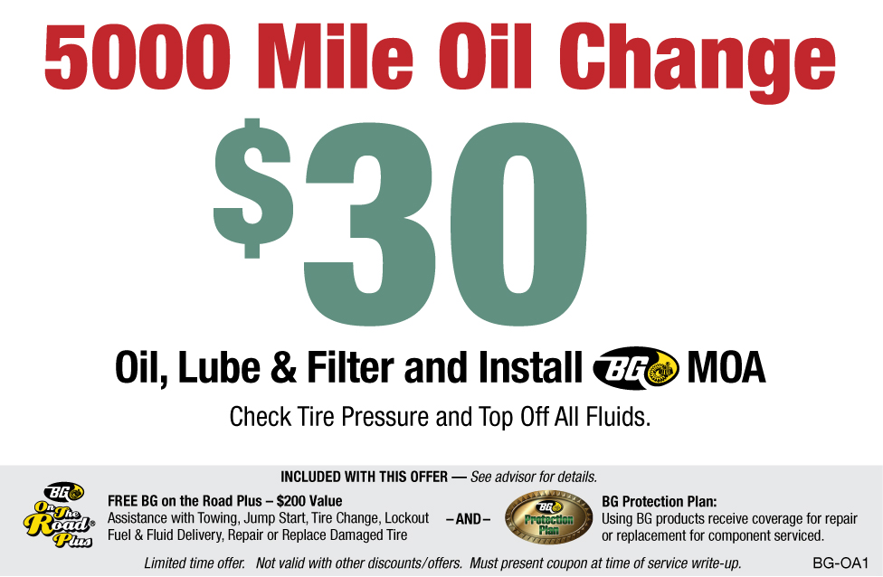 BG 5000 Mile Oil Change $30 W/BG MOA