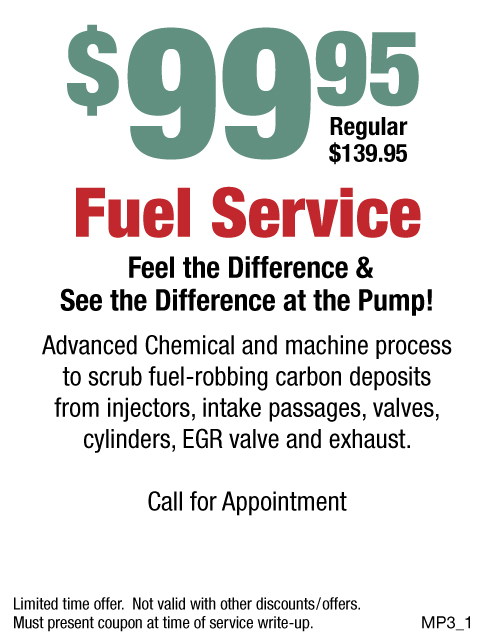 $99.95 Fuel Service W/Appt.
