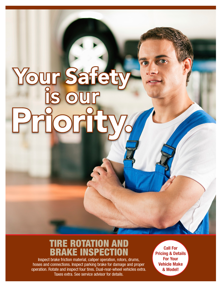 Tire Rotation & Brake Inspection (Call Shop For Details)