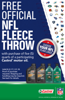 Castrol nfl fleece throw 8.22 1.31
