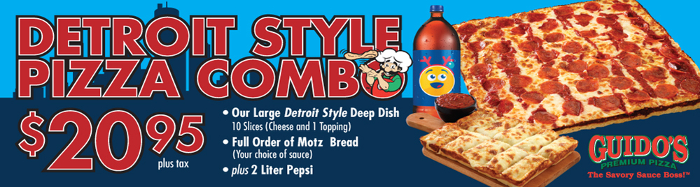 Detroit Style Pizza Combo $20.95