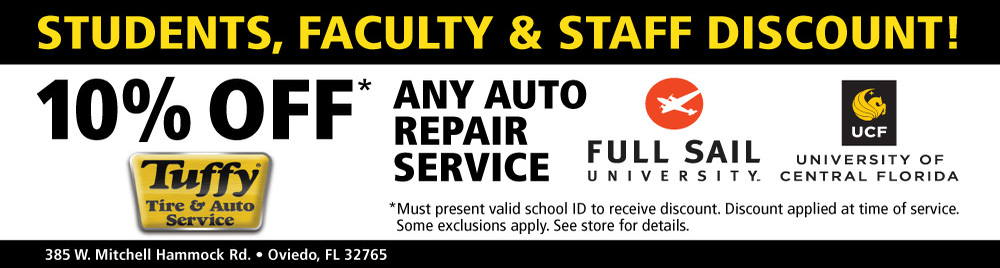 Tuffy 10% OFF Any Repair Service (Student/Faculty & Staff) Full Sail University/UCF
